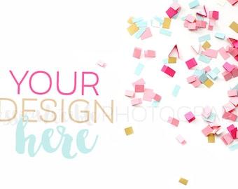 Pink Spilled Confetti Styled Desktop, Styled Stock Photography, Feminine Styled Mockup, Product Background Photo, Desk Mockup