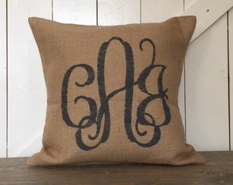 Monogram pillow, Interlocking Script pillow, Burlap pillow,