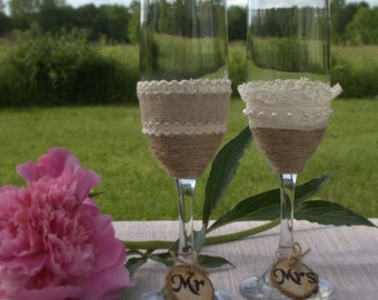 Wedding Toasting Glasses Rustic Toasting Flutes Wedding Champagne Flutes Bride Groom Wedding Glasses Bridal Shower Gift
