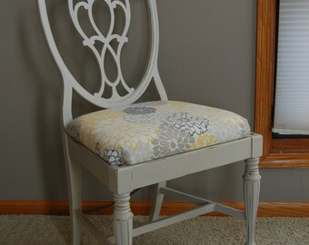 Hand Painted Gray Accent Chair