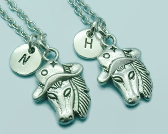 Horse with cowboy hat BFF charm necklaces, best friend necklaces, set of two mother daughter, sister, matching necklaces, double necklaces