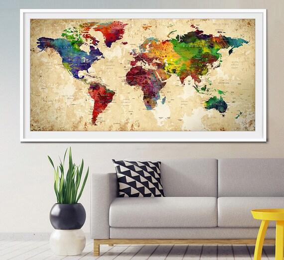 World map push pin Push Pin Travel Map Wall Art by MyVisualArt