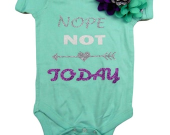 Two Piece Set Baby girl onesie, green, with Nope not Today. Purple and green hair bow included.