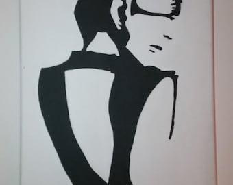 Silhouette woman, painting acrylic, minimalist, modern, table