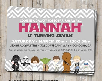 GIRL Star Wars birthday invitation personalized for your party - digital / printable DIY Star Wars invitation for girls