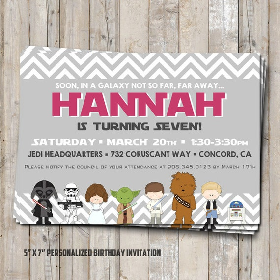 GIRL Star Wars Birthday Invitation Personalized For Your Party - Star wars birthday invitation diy