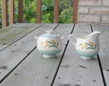 Vintage Sugar Bowl Creamer Set / China Sugar Bowl and Creamer / Wheat China Pattern / Mint green China / Viking Turquoise Wheat