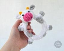 Happy Cow Baby Rattle | Clutch Toy | PDF Crochet Pattern