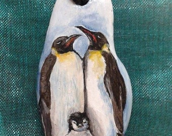 Necklace with hand-painted penguins! Necklace with penguins Handmade!
