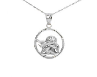 14k White Gold Angel Necklace