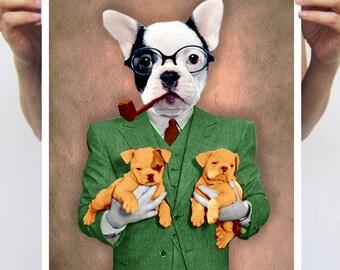 French Bulldog painting, Bulldog Print, Holiday Gift, Christmas Gift, Coco de Paris, Bulldog with Puppies