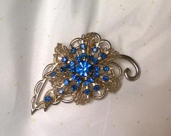 Vintage Leaf Brooch with Blue Rhinestones