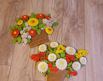 Vintage Syroco Flowers in Baskets Wall Hanging Plaque Set of 2 1970s