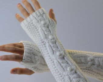 Knitted Fingerless Gloves, Womens knitwear, Arm warmers,winter accessory,  gift for her, Womens fashion accessories