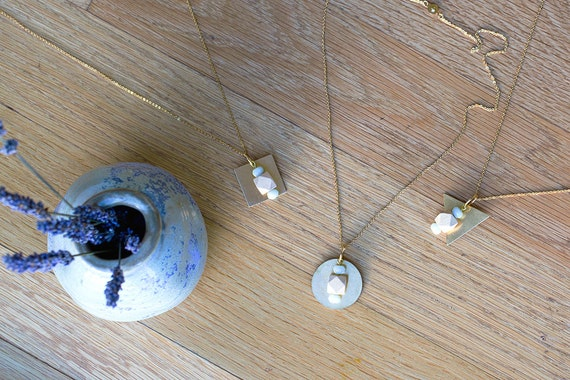 Essential Oil Diffuser Necklace // Wood & Geometric Beads with Brass Pendant