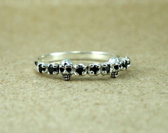 Simple tiny sterling silver skull ring, Gift Skull Ring Sterling Silver Goth Engagement, Sterling silver stacking ring, Tiny Skull ring