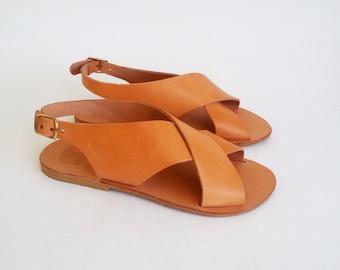 Greek Slingback Sandals, Monogrammed Leather Sandals, Ancient Greek Sandals ''Naxos''