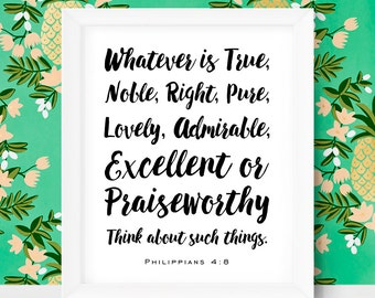 Printable Bible Verse Art Whatever is True Bible Wall Art Philippians 4 8 Christian Scripture First Holy Communion Gifts Holy Spirit Print