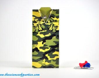 Military green camouflage uniform favor box