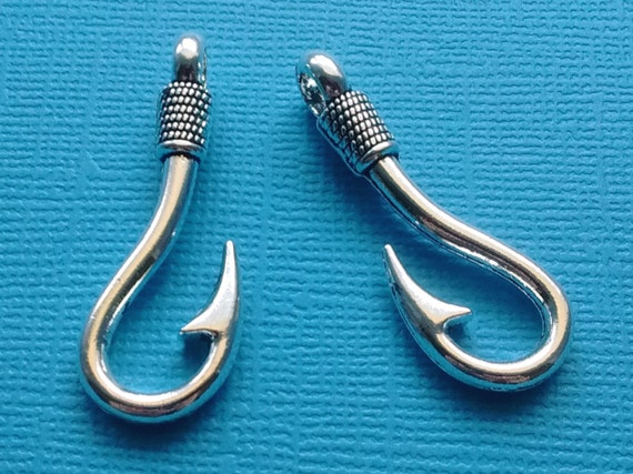5 fish hook charms silver fish hook pendant fishhook charm for Fish hook charm