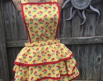 Homemade Vintage-inspired Retro Apron, Cheery Cherries
