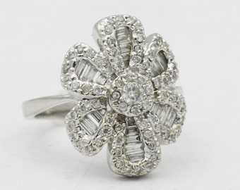 Antique Diamond Flower Ring, 14k Gold Diamond Floral Ring, 1.5 cttw Diamond Ring