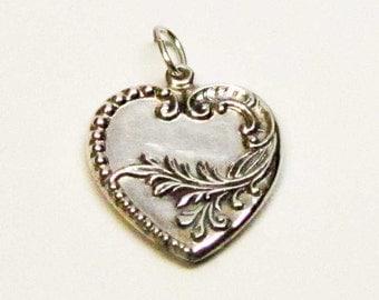 DEVINE HEART CHARM, Charms, Barn Wedding Favor, Farm Charm, Silver Heart, Heart Charm, Heart Pendant, Necklace, Vintage Jewelry, Puffy Heart