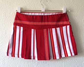 Striped Skirt Mini Skirt Red and White Striped Skirt Short Pleated Skirt Back to School Big Stripes Denim Skirt Extra Small Size