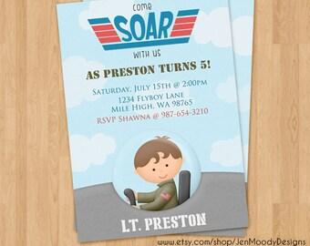 Jet Pilot Birthday Invite, Airforce Party Invitation - Printable, Digital, Custom, Jet Plane, Fighter Pilot, Topgun, Airplane