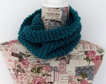Blue single loop snood scarf cowl