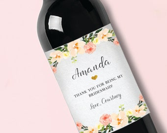 Thank you Bridesmaid //Maid of Honor//Wine Label//Favor