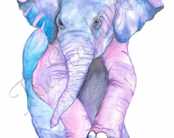 Pink elephants on parade, watercolor painting