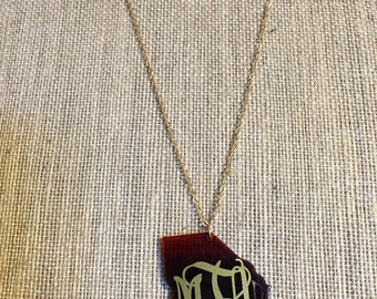 Monogrammed Georgia State Necklace