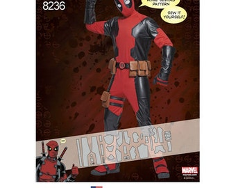 "Sewing Pattern ""Marvel Deadpool"" Costume, Mens XS- XL, Simplicity Pattern 8236, Halloween, Comic Con, Cosplay"