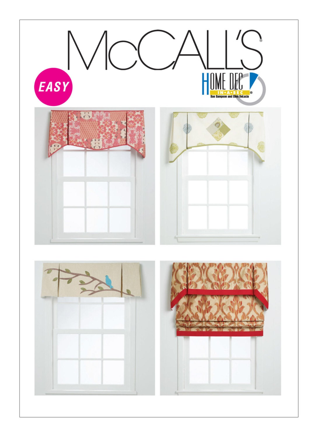 Sewing pattern for four window valances patterns mccall 39 s for Professional window treatment patterns