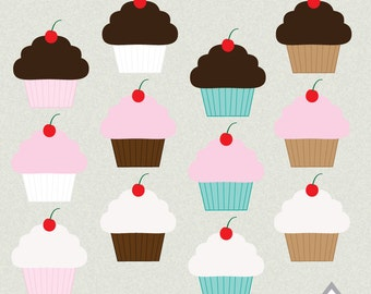 Cupcake Clipart, Cute Cupcakes, Chocolate Cupcake, Strawberry Cupcake, Sweets, Bakery, Baked Goods, PNG Files, Small Commercial Use, Digital