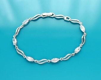 Bridesmaid bracelet, Bridesmaid jewelry, Dainty CZ bracelet, Crystal bracelet, Wedding zircon jewelry, Tennis bracelet, Bridesmaid gift 0195