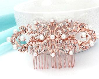 Pearl rhinestone hair comb,  Rose gold wedding comb, Pearl crystal hair comb, Bridal hair comb, Wedding hair accessories 15195RG