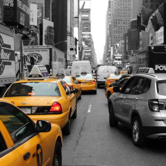 Taxi In New York Black & White And Color Photography