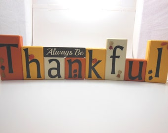 Always Be Thankful Wood Block Set for the Fall