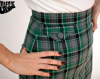 60s Skirt, 60's Skirt, Green Plaid Skirt