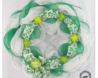 Shamrocks Saint Patrick's Day Wreath - Deco Mesh Wreath - Saint Patrick's Day Decor - Front Door Wreath - Shamrock Wreath - Modern Decor