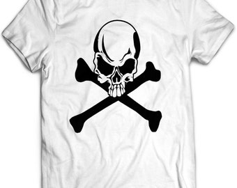 Skull and Bones Shirt, Womens Skull Shirt, Skull T Shirt For Men, Skull and Crossbones Shirt, Halloween Shirts For Men, Teen Boys Halloween