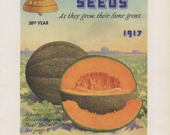 """Vintage Seed Catalog""""  1917 Isbells Seeds Cover (Musk Melon)"""