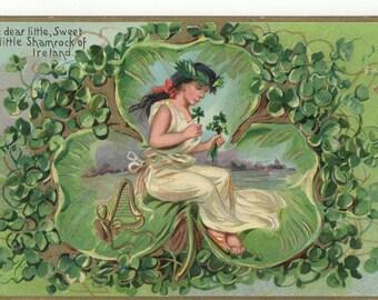 Vintage Tuck St Patricks Day Postcard: Irish Maiden and Shamrocks