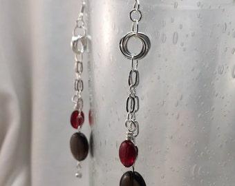 Möbius Flower Earrings with Smokey Quartz Beads