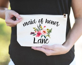Maid of Honor Makeup Bag, Maid of Honor cosmetic Bag, Makeup Bag for Maid of Honor, Custom Maid of Honor Bag, Custom Maid of Honor Makeup