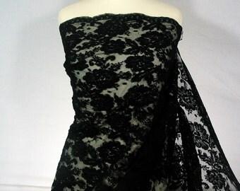 Raven Black ~ Alençon lace ~ Designer lace ~ Corded lace ~ Couture lace ~ double scallop ~ Flower design ~ No 59
