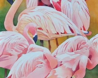 """Flamingos Resting (22""""x27"""" original watercolor)"""
