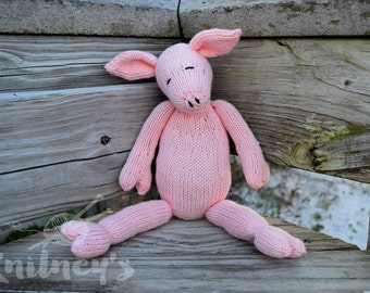 Stuffed Pig, Pig Stuffed Animal, Knit Pig, Pig Plush, Pig Doll, Toy Pig, Handmade Toy, Soft Toy, Baby Gift, Nursery Toy, Knit Toy, Pink Pig